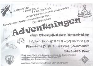 Das Plakat bzw. der Flyer zum Trachtler-Adventsingen