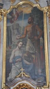 Das von Hans Krempel im Jahr 1950 gemalte Bild von der Taufe Jesu durch Johannes den Täufer. (Foto: Markus Bauer)