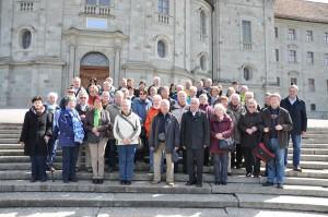 Die Pilgergruppe vor dem Kloster Maria Einsiedeln. (Fotos: Markus Bauer)