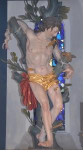 Die Figur des Heiligen Sebastian in der Sebastianskirche. (Foto: Markus Bauer)